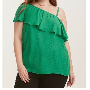 TORRID Green/Black polka dot one shoulder top
